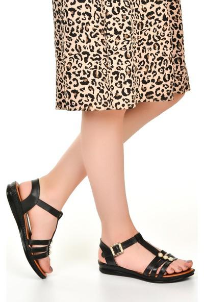 Nazz 42500 Siyah Düz Taban Yazlık Kadın Sandalet Ayakkabı