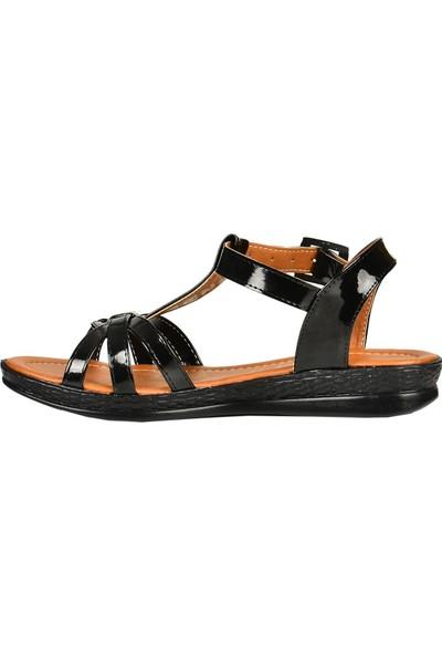 Nazz 43400 Siyah Düz Taban Yazlık Kadın Sandalet Ayakkabı