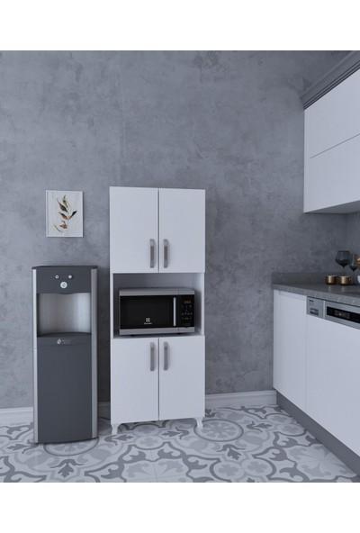 Albero Mobilya Beyaz Fırın Bölmeli Mutfak ve Banyo Dolabı