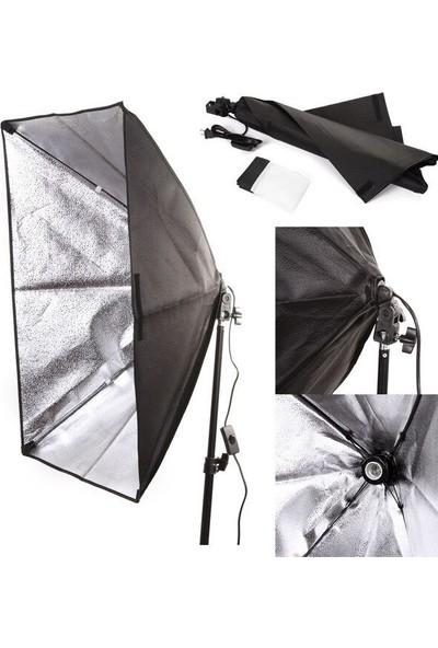 Fototek 50 x 70 cm Softbox 2'li Sürekli Işık Seti Strobist Set Taşıma Çantalı 2'li Ampul