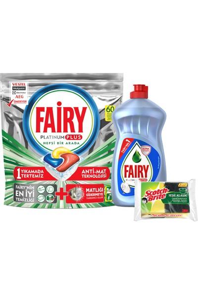 Fairy Platinum Plus 60 Yıkama + Fairy Platinum Hijyen 500 ml Sıvı Bulaşık Deterjanı + 2'li Sünger ile Birlikte