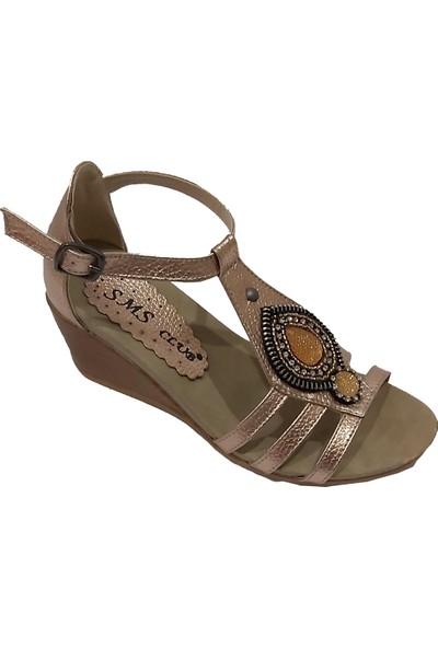 Sms 1034 Alçak Dolgu Topuklu Taşlı Kadın Sandalet