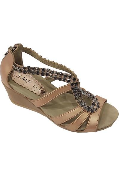 Sms 1035 Taşlı Dolgu Topuklu Kadın Sandalet