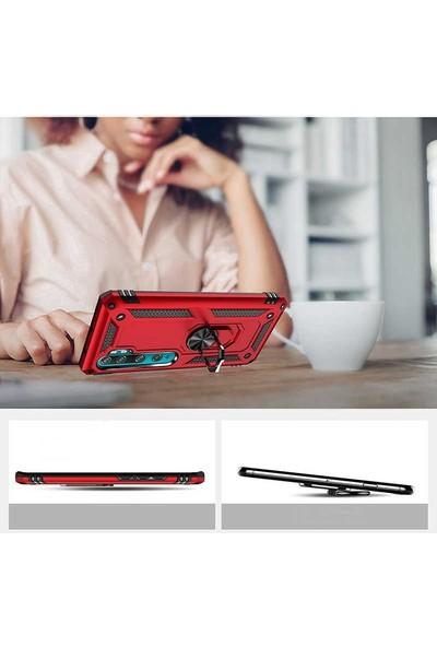 Tbkcase Xiaomi Mi Note 10 Lite Kılıf Vega Yüzüklü Tank Kapak Siyah + Pet Tpu Ekran Koruyucu