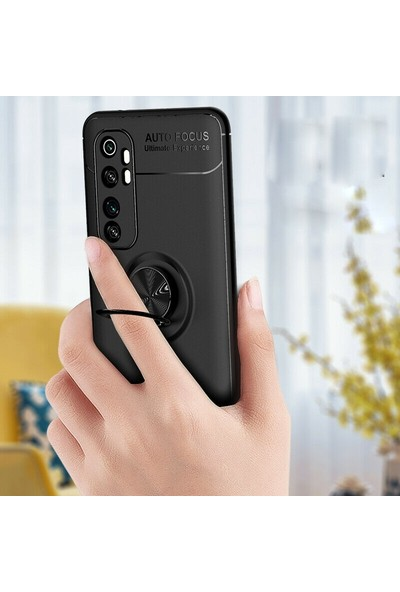 Tbkcase Xiaomi Mi Note 10 Lite Kılıf Ravel Yüzüklü Standlı Silikon Siyah + Tam Kapatan Ekran Koruyucu