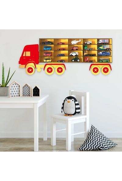 Bege Ahşap Dekoratif Çocuk-Bebek Odası Oyuncak Kamyon Araba Rafı Kırmızı - Sarı