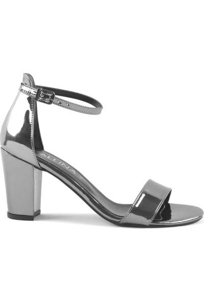 Allina Platin Aynalı Tek Bant Kalın Yüksek Topuk Kadın Ayakkabı