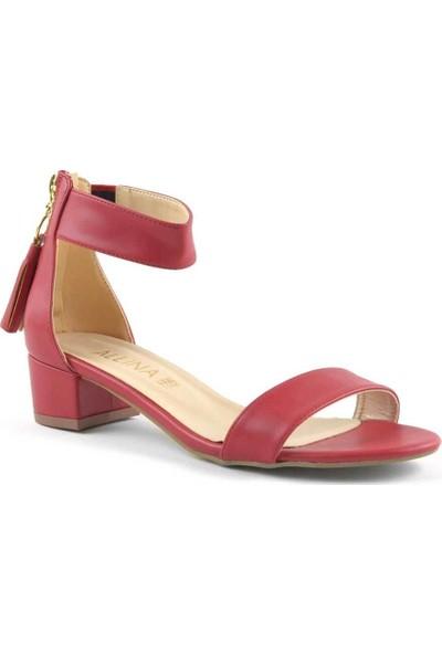 Allina Kırmızı Bilek Bantlı Fermuarlı Alçak Topuk Kadın Ayakkabı