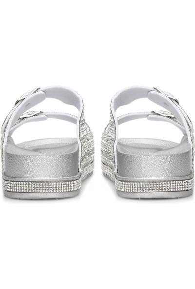 Divarese Kadın Taşlı Gümüş Rengi Terlik