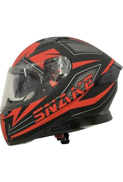 Mts Snake Mat Kırmızı Siyah Full Face Motosiklet Kaskı