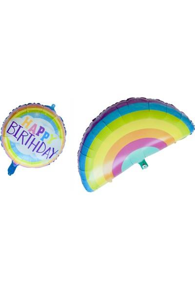 Ohlala Party 2'li Soft Renklerde Gökkuşağı Şeklinde ve Happy Birthday Yazılı Folyo Balon Seti