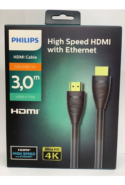 Philips SWL6118E/93 HDMI KABLO 3D Ağ Destekli Altın Uçlu 4K 60Hz 18G Bps Ultra HD HDMI2.0 Görüntü/Ses Kablosu-3m