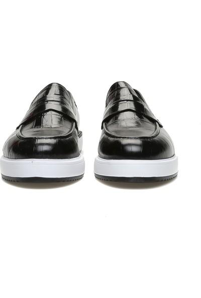 George Hogg Erkek Kroko Siyah Loafer
