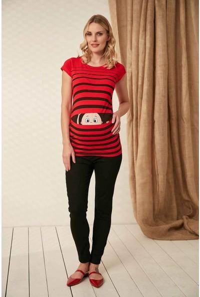 Gör&sin Pencereden Bakan Bebek Baskılı Hamile Tişörtü Kırmızı 40 - 42