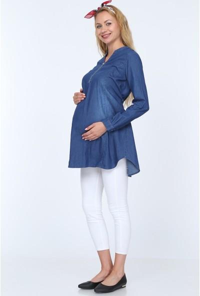 Gör&sin Düğmeli Hamile Tensel Tunik Kim.mavi 40