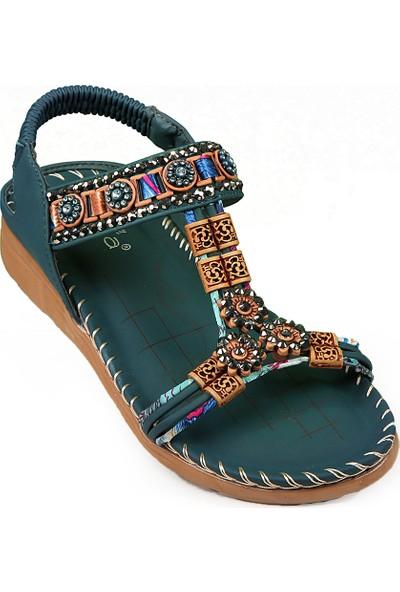 Guja Düz Taban Taşlı Şık Sandalet