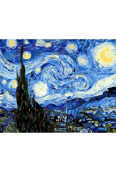 Hesaplı Aksesuar Kendin Yap Numaralı Tablo Seti Yağlı Boya ve Fırça Yıldızlı Geceler 40 x 50 cm