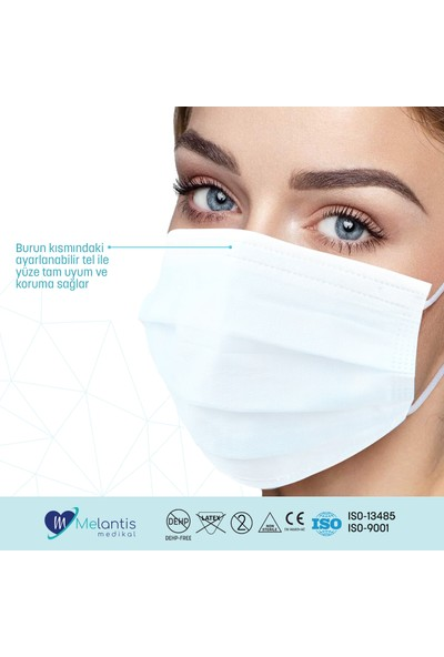 Melantis Medikal Tek Kullanımlık Telli 3 Katlı Cerrahi Maske 50 Adet 3 Kutu