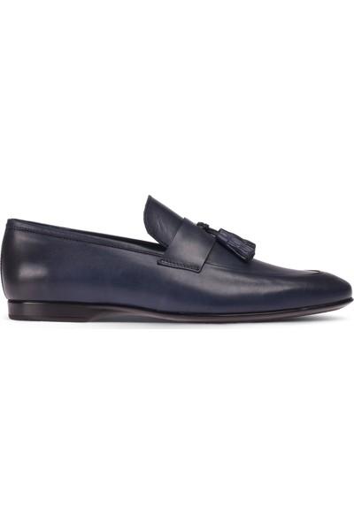 Deery Deri Mavi Loafer Erkek Ayakkabı