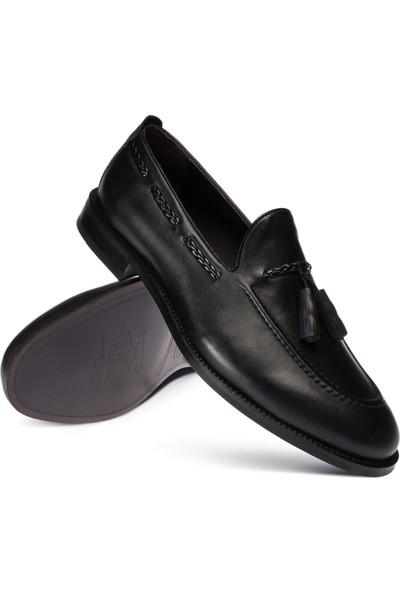 Deery Deri Siyah Püsküllü Erkek Loafer