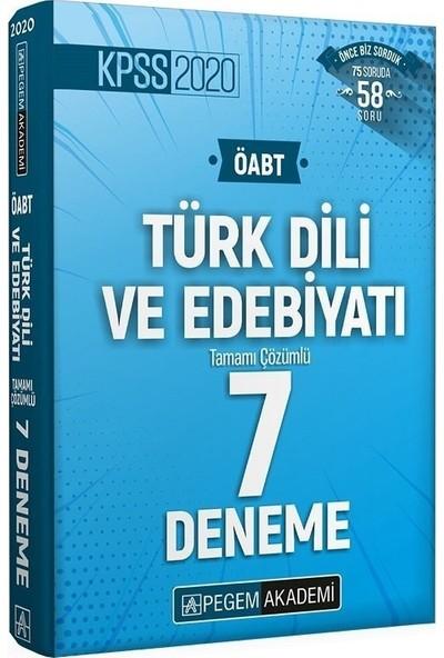 Pegem Akademi Yayıncılık 2020 Kpss Öabt Türk Dili ve Edebiyatı Tamamı Çözümlü 7 Deneme