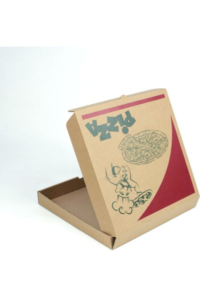 Unipak Baskılı Pizza Kutusu 23,5 x 23,5 x 3 cm Kraft 100'lü