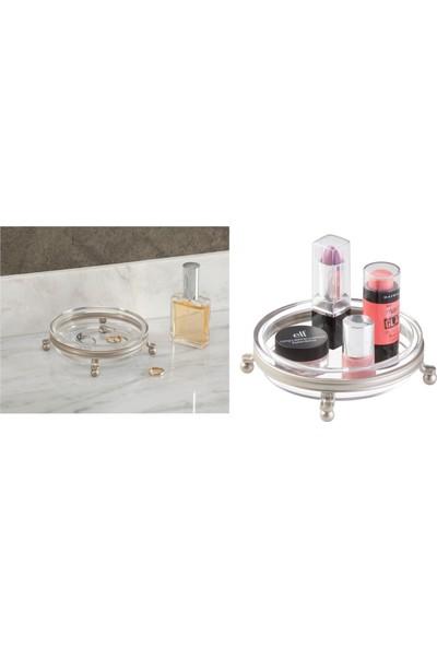 Bosphorus Kozmetik,makyaj Organizeri Yuvarlak,gümüş Renkli