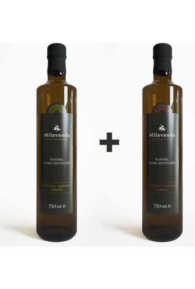 Milavanda Edremit & Memecik Soğuk Sıkım Natürel Sızma Zeytinyağı 750 ml x 2'li