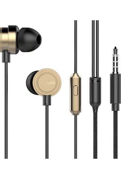Uiisii HM13 Mikrofonlu Kulakiçi Dinamik Kulaklık - Titanyum - Güçlü Bas - Gold