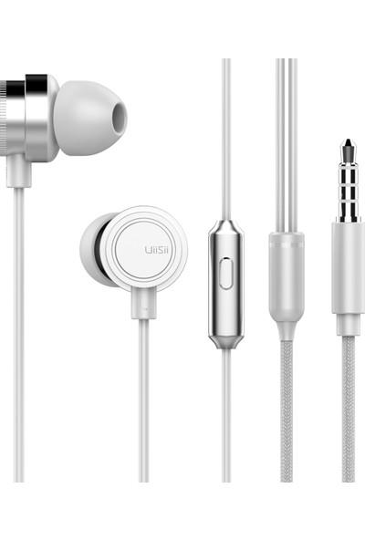 Uiisii HM13 Mikrofonlu Kulakiçi Dinamik Kulaklık - Titanyum - Güçlü Bas - Beyaz