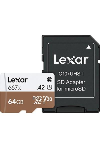 Lexar 64GB Micro SDXC UHS-I 667X C10 U3 4K V30 A2 100Mb/sn Hafıza Kartı (Adaptörlü) LSDMI64GB667A