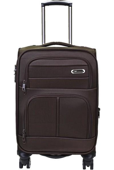 Kabin Boy Valiz 4 Tekerlekli Kumaş Kahverengi Nk Valiz 0012