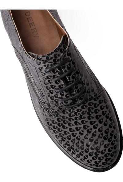 Deery Deri Gri Günlük Oxford Kadın Ayakkabı