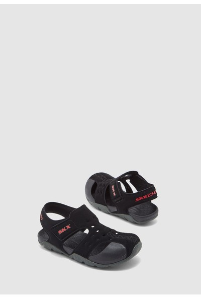 Skechers Side Wave Büyük Erkek Çocuk Siyah Sandalet 92330L Bkcc