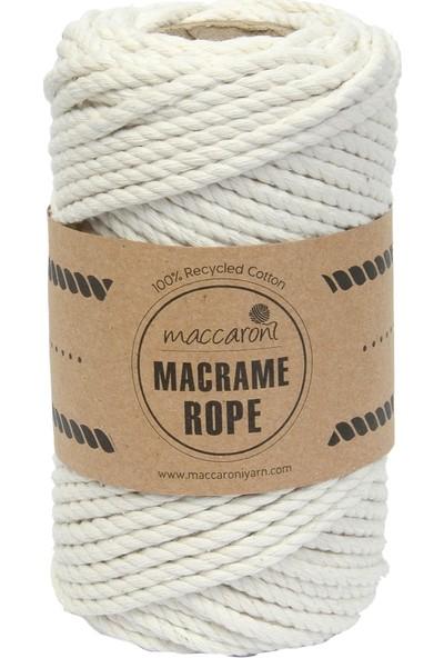 Maccaroni Bükümlü Makrome İpi 250 gr 4 mm Ekru
