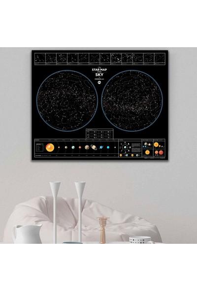 Star Map Burçlar Gezegenler Güneş Sistemli Galaksi Yıldız Haritası XL 60 x 75 cm