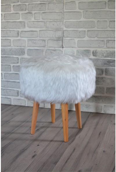 Zeen Concept Dolce Yuvarlak Silindir Puf Beyaz Peluş