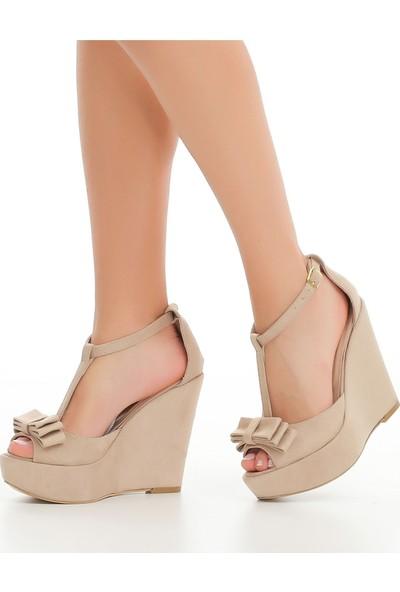 Ayakkabı Delisiyim Funes Süet Vizon Fiyonklu Dolgu Topuk Ayakkabı