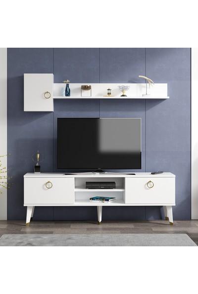Alfa Tv Ünitesi Beyaz 150 x 35 cm