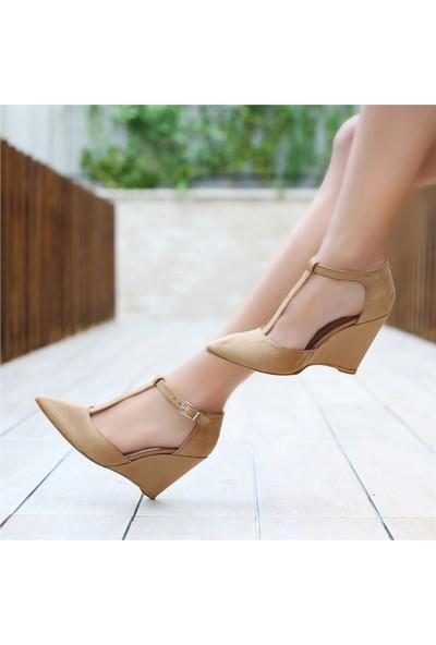 Ayakkabı Delisiyim Rontiba Camel Rengi Dolgu Topuklu Ayakkabı