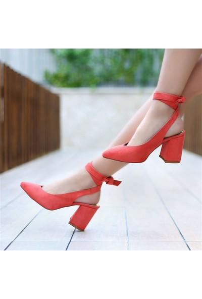Ayakkabı Delisiyim Verla Süet Turuncu Arkası Açık Topuklu Ayakkabı