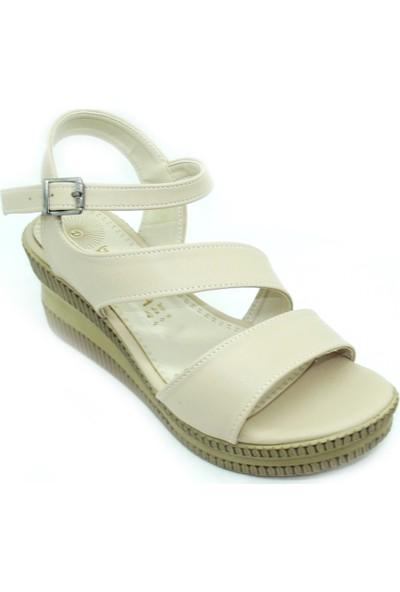 Trendy 589 Günlük Bej Rahat Kadın Sandalet