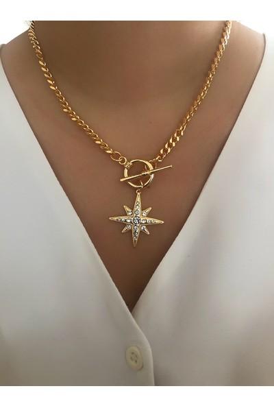 Aycha Aksesuar Gold Vintage Zincir Yıldız Kolye