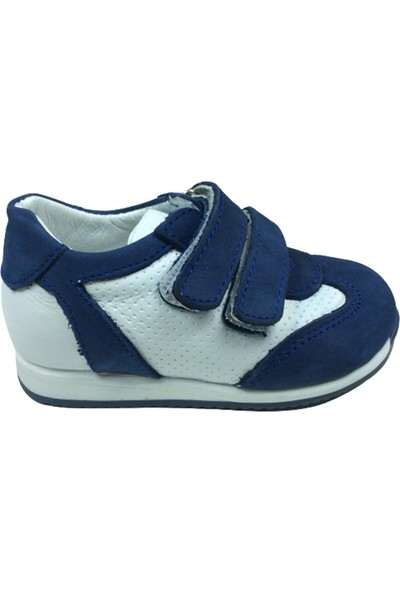 Cici Bebe Tıpış Tıpış İlkadım ErkekÇocuk Spor Ayakkabı Lacivert-Beyaz Cırtlı Deri
