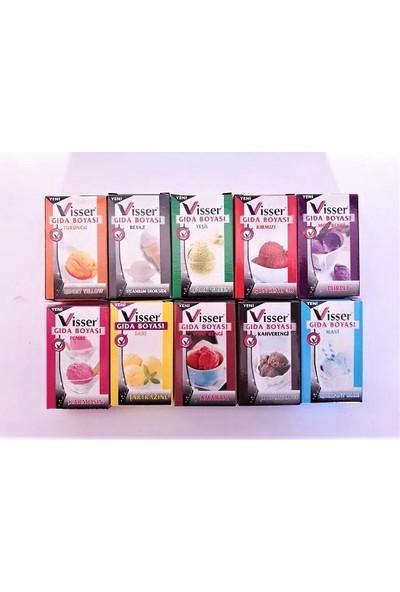 Elif İş Eğitimi Visser Toz Gıda Boyası 10 Lu Paket 10 Renk 10'lu