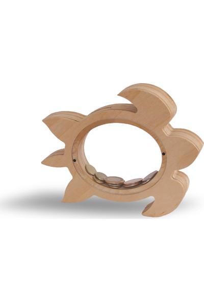 Bobidik Toys Doğal Ahşap Özel Tasarım Kaplumbağa Figürülü Kumbara