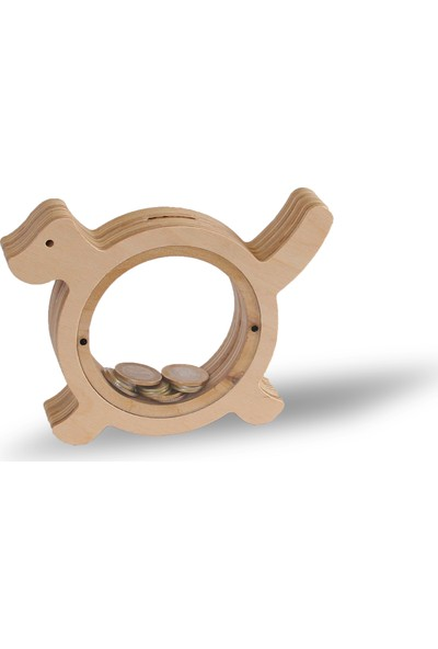 Bobidik Toys Doğal Ahşap Özel Tasarım Köpekcik Figürülü Kumbara