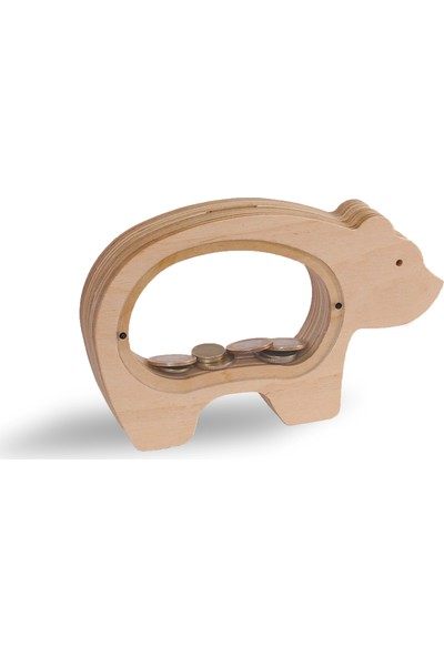 Bobidik Toys Doğal Ahşap Özel Tasarım Ayıcık Figürülü Kumbara
