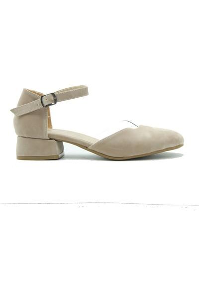 Tuğrul Ayakkabı Kadın Topuklu Ayakkabı 01-518 Vizon.Süet