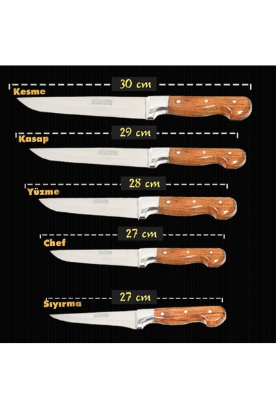 Sürmene 5'li Ahşap Sürmene Bıçak Seti